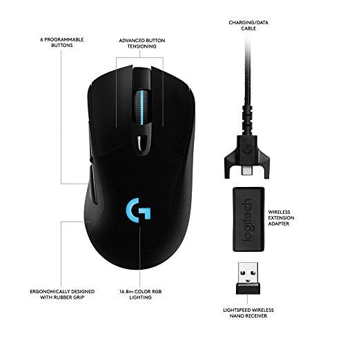 Logitech G703 Wireless Gaming Maus (mit kabelloser Powerplay-Aufladetechnologie und Lightspeed) für 55€