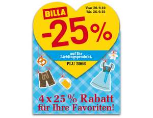 [BILLA] -25% RABATT Sticker ab 20.9