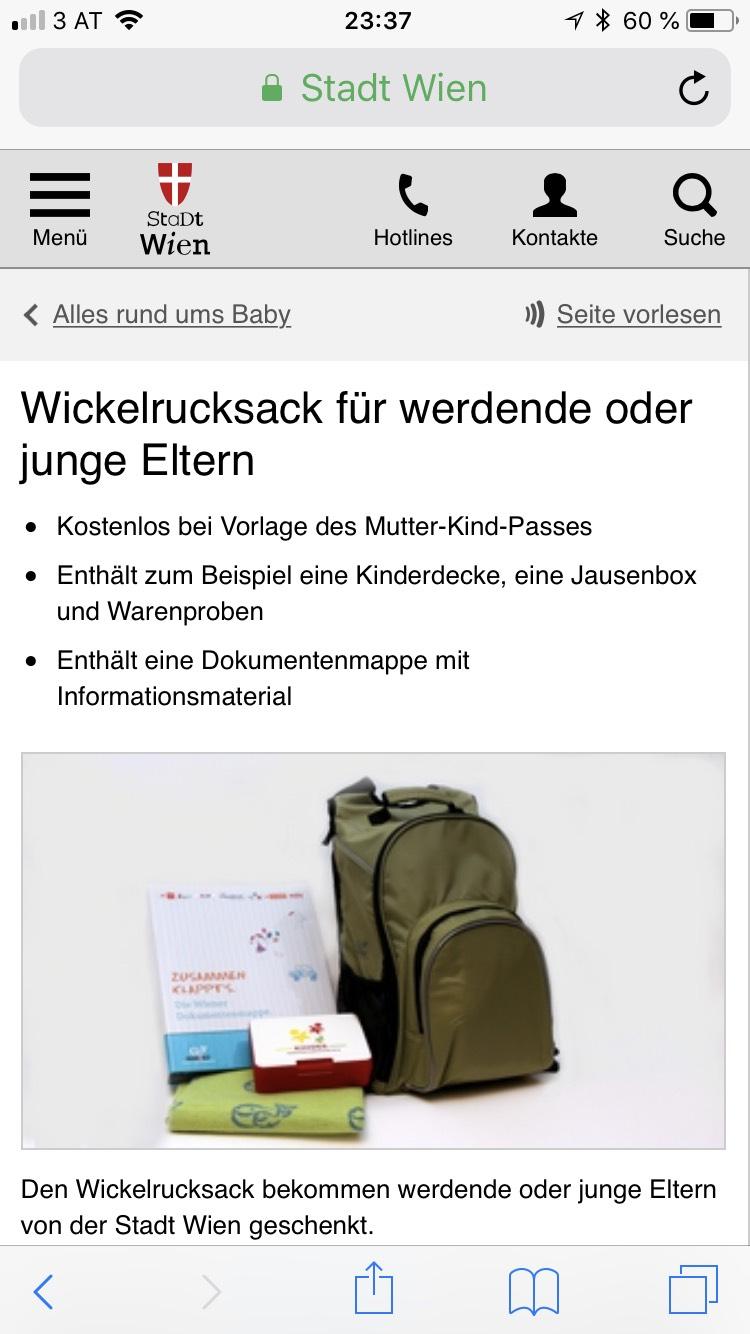 Stadt Wien: Gratis Wickelrucksack für werdende oder junge Eltern