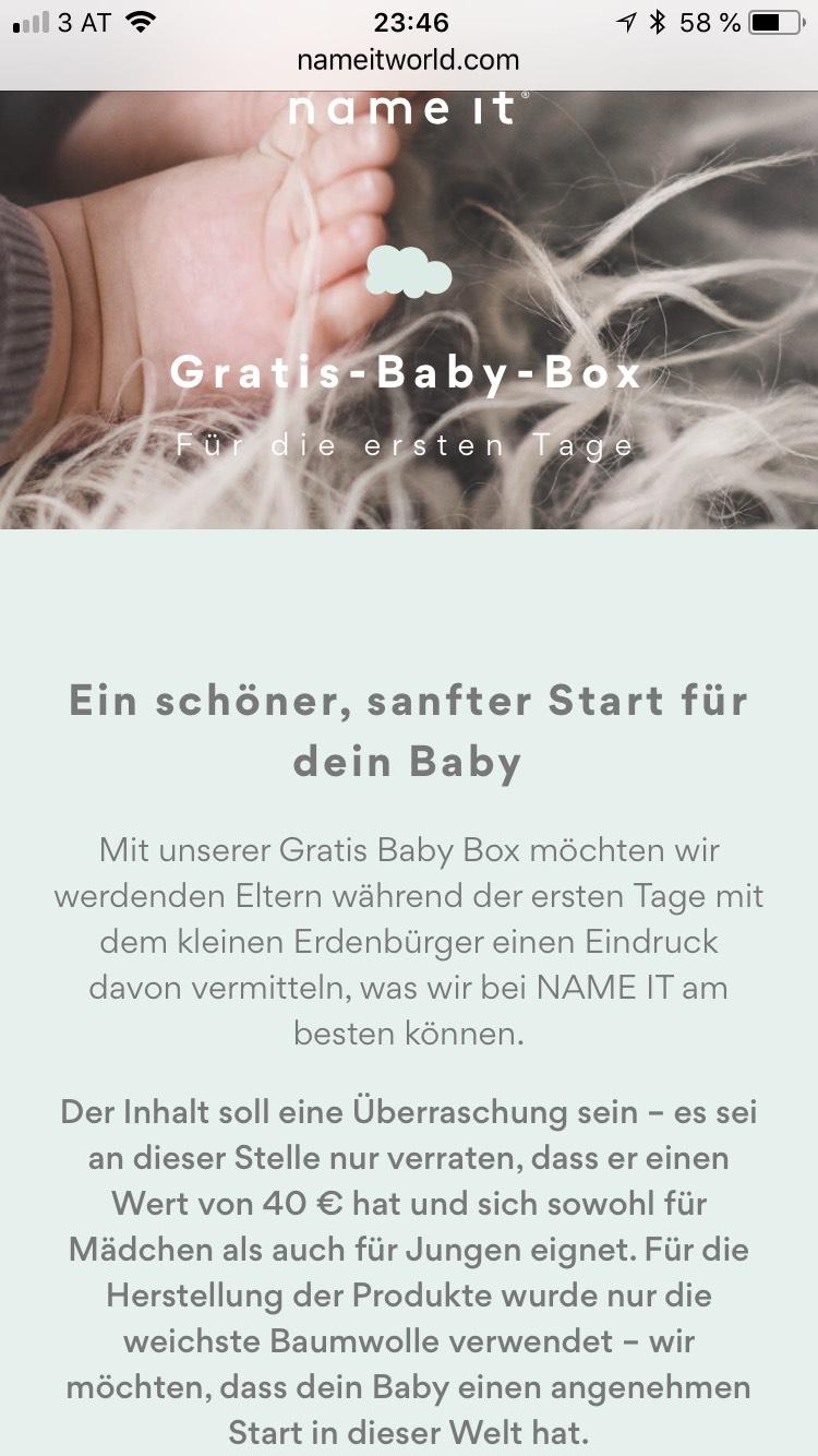 Name it: Gratis-Baby-Box im Wert von EURO 40,—!