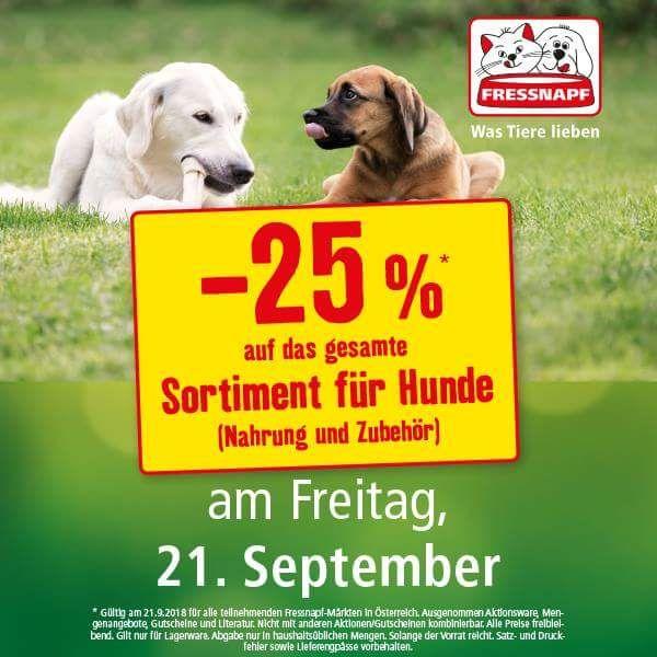 Fressnapf: nur heute -25% auf das gesamte Sortiment für Hunde