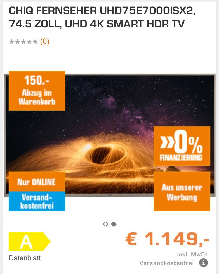 CHIQ FERNSEHER UHD75E7000ISX2, 74.5 ZOLL, UHD 4K SMART HDR TV um €999 und Versandkostenfrei
