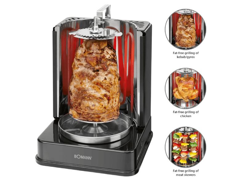 BOMANN Vertikal Döner Kebab Multigrill zum fettfreien Grillen DVG 3006 CB schwarz für 35€