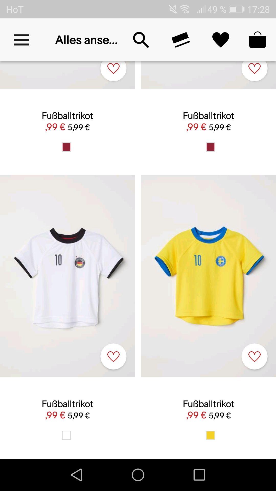 H&M online Fußballtrikots für Kleinkinder um 0,99 (für Clubmitglieder Gratis versand)
