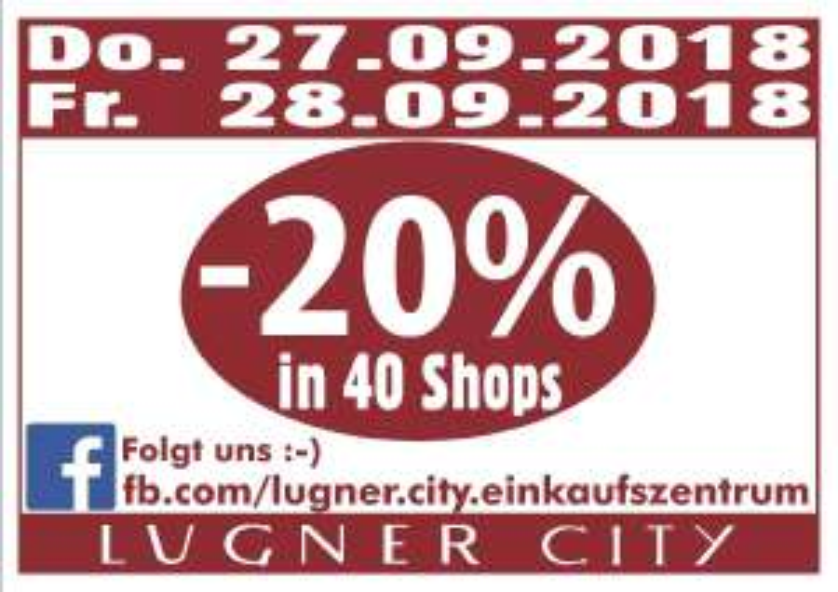 Lugner City: -20% in 40 Shops (27+28.9.)