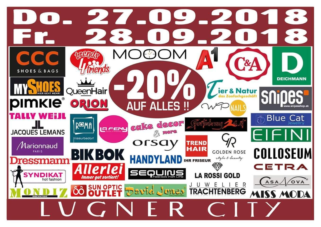 Lugner City: -20% in 40 Shops (27+28.9.), -15% bei Müller