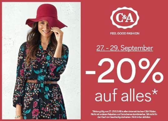 C&A: -20% auf alles von 27.-29.9.