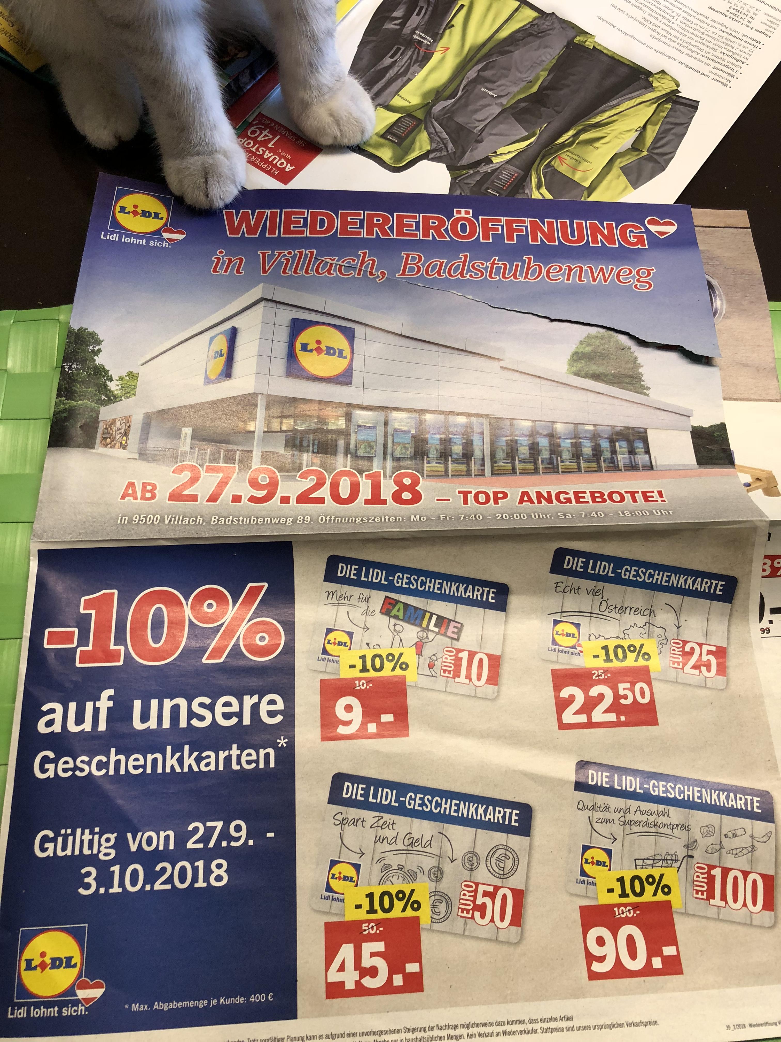 Lidl Villach -10% auf Lidl Geschenkkarten (einlösbar auf alle Geschenkkarten und co)
