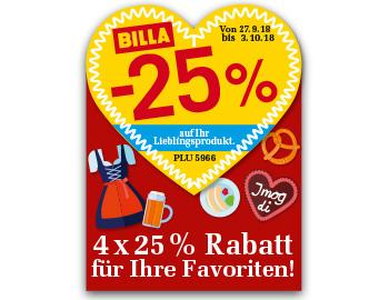[BILLA] -25% RABATT Sticker ab 27.9