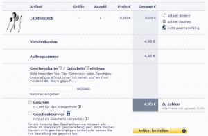 Tafelbesteck für 0€ + 5€ Versand bei Tchibo [Preisfehler] *Update*