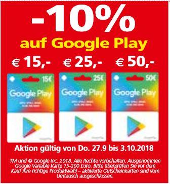 Eurospar + Interspar –10% Rabatt auf Google Play Wertkarten