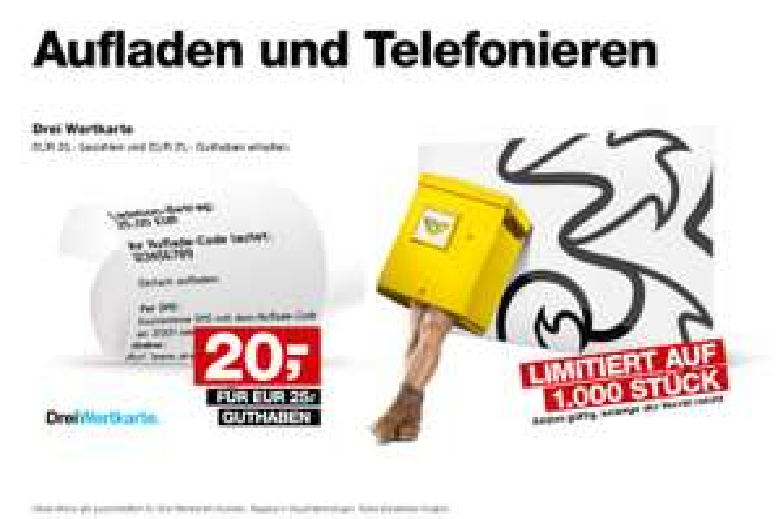 """Post Filialen - 25 € Wertkarte für Drei """"3"""" um 20 €"""