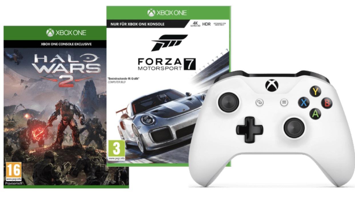 Xbox Wireless Controller weiß + Forza Motorsport 7 + Halo Wars 2 für 55
