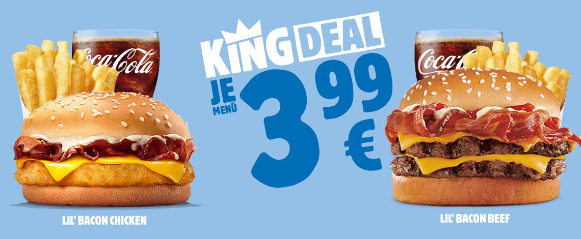 """Burger King - neue """"King Deals"""" um jeweils 3,99 € (Burger, Pommes und Getränk)"""