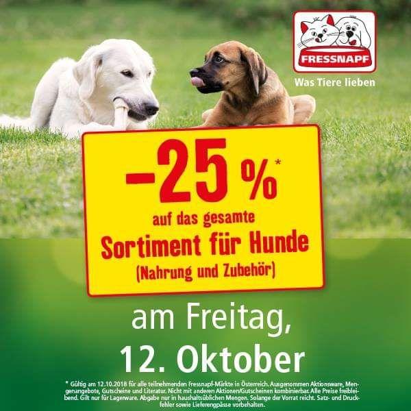 Fressnapf: -25% auf das gesamte Sortiment für Hunde am 12.10.