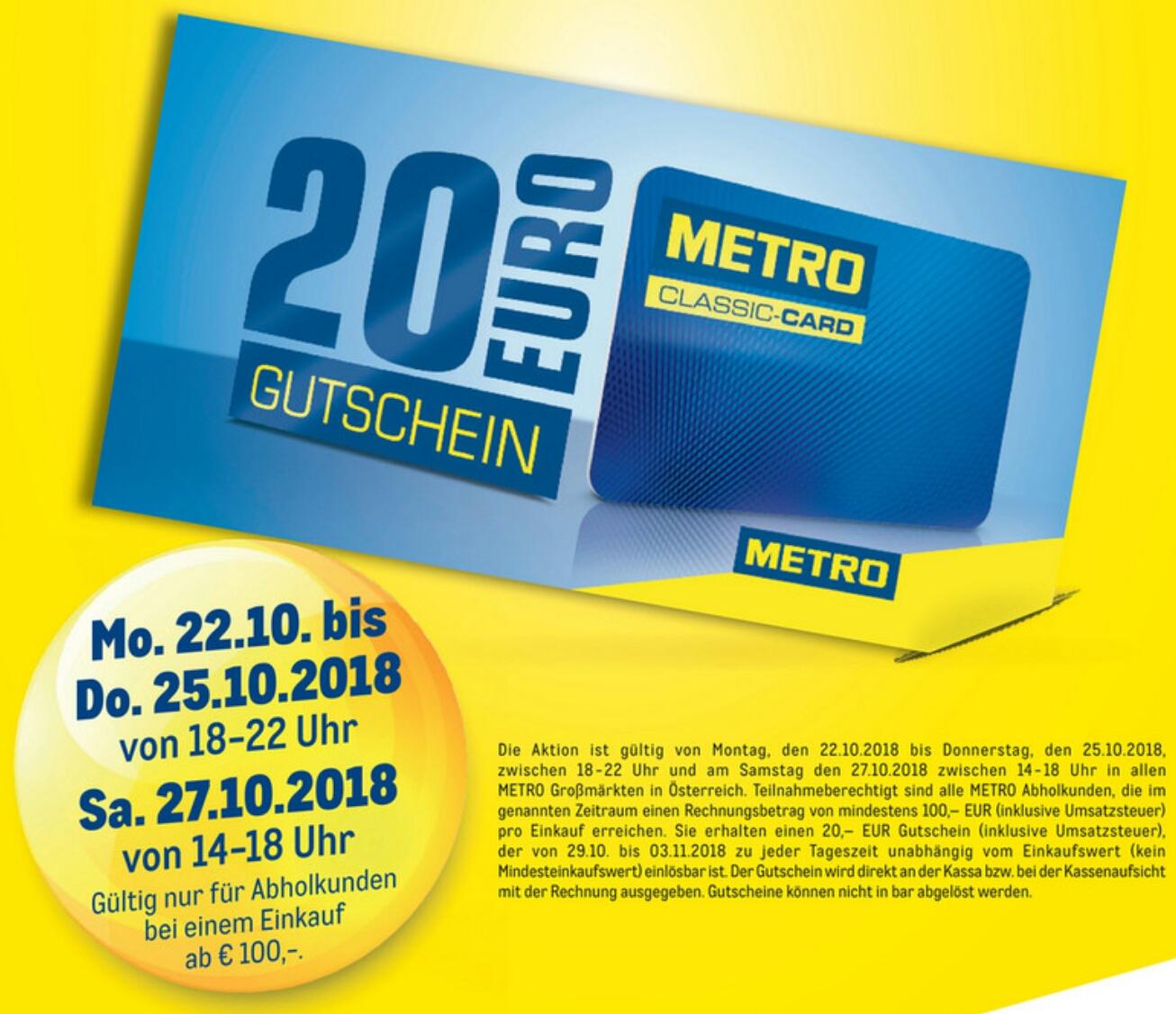 [METRO] 20€ Gutschein ab 100€ Einkaufswert (brutto)