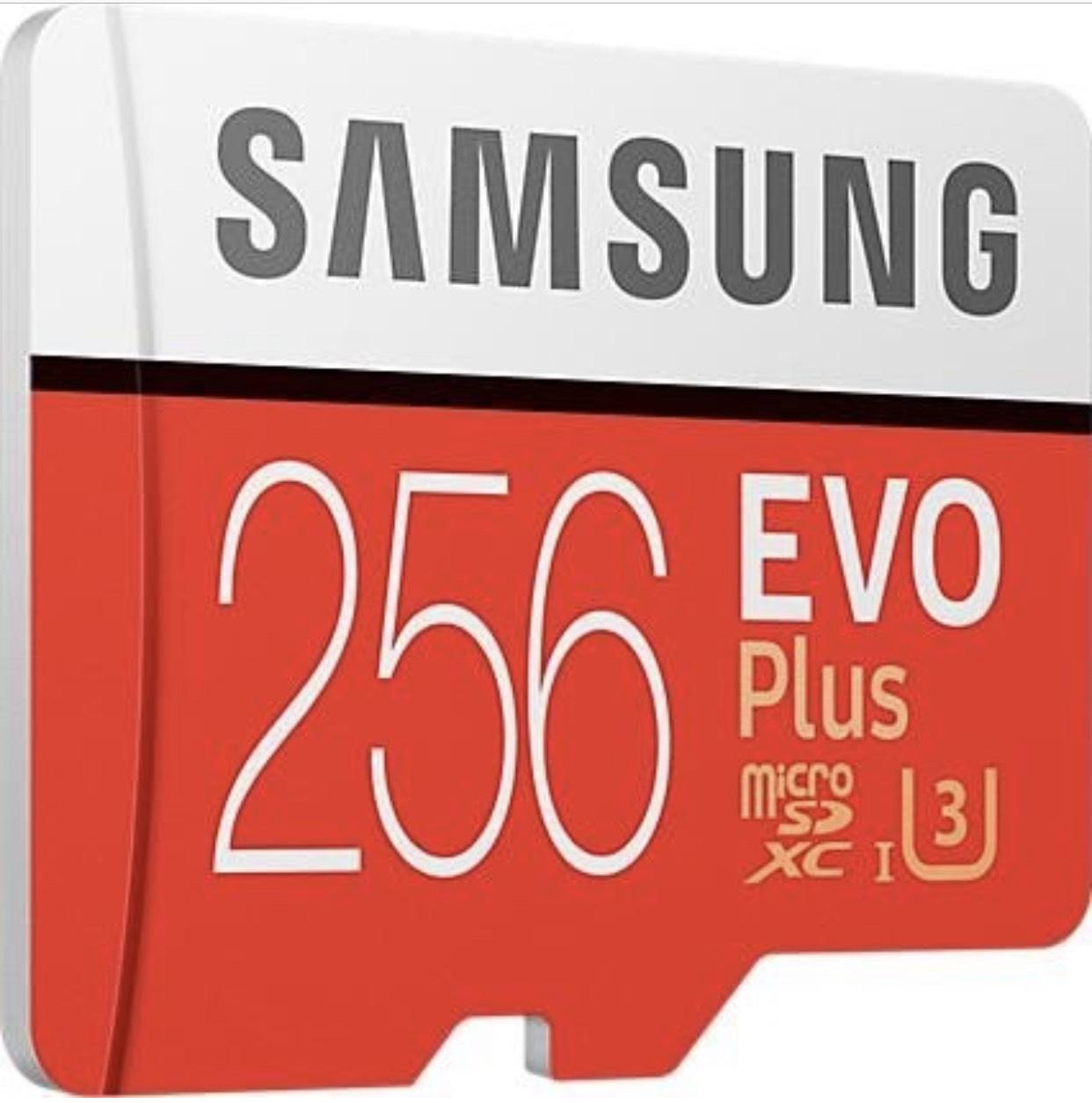 Samsung Micro SDXC 256GB Class 10 EVO Plus U3 Speicherkarte (inkl. SD Adapter, bis zu 100MB/s) für 66,55€