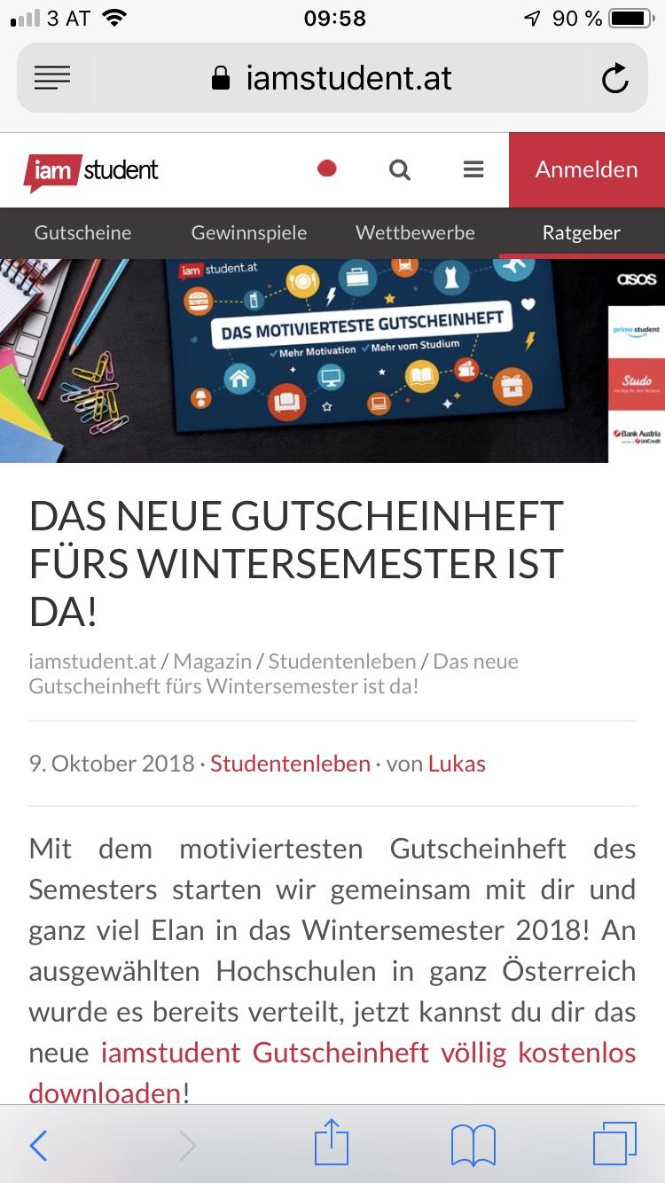 iam student Gutscheinheft Wintersemester - kostenloser Download