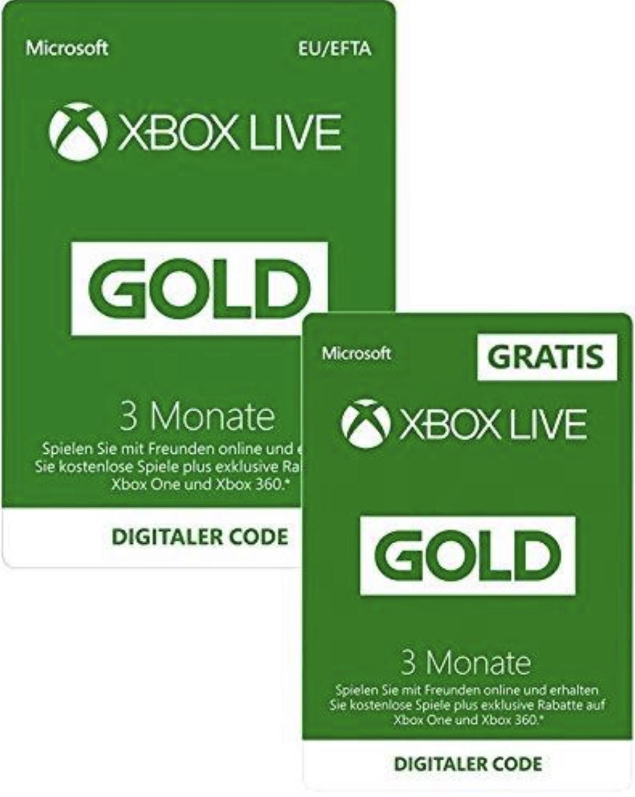 3 Monate Xbox Live Gold + 3 Monate Gratis für 19,99€