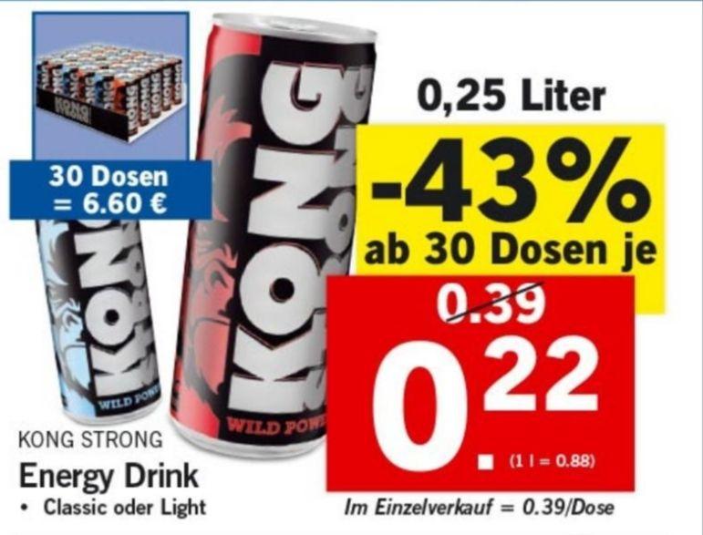 [LIDL] Ab 30 Dosen Kong Strong gibt es 43% auf die Dosen