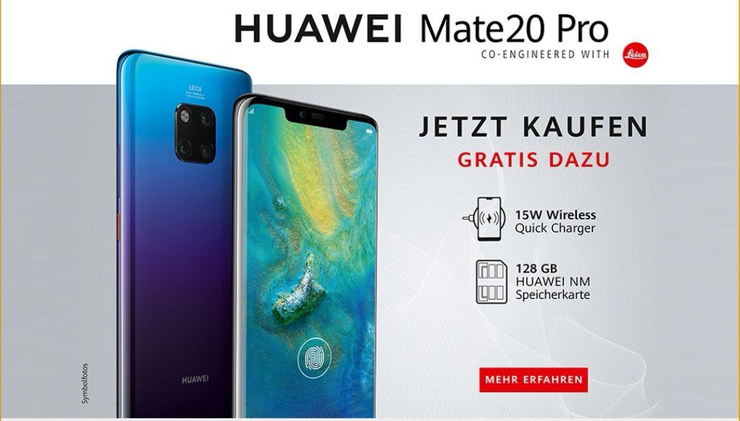 Huawei Mate 20 Pro österreich Promotion mit 15w wirless charger u. 128fb karte