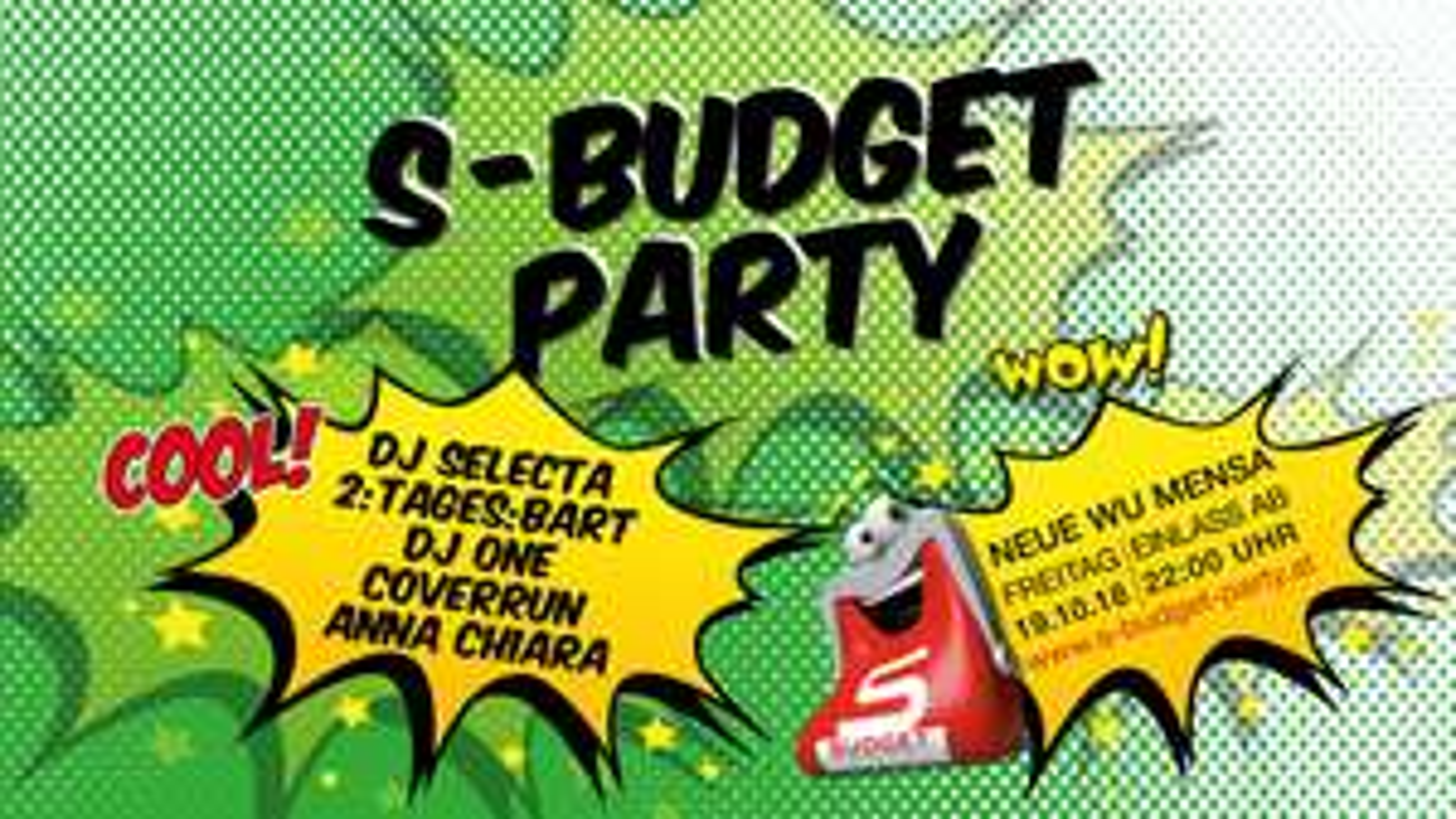 19.10.2018 freier Eintritt, gratis Getränke: S-Budget Party Wien Welthandelsplatz