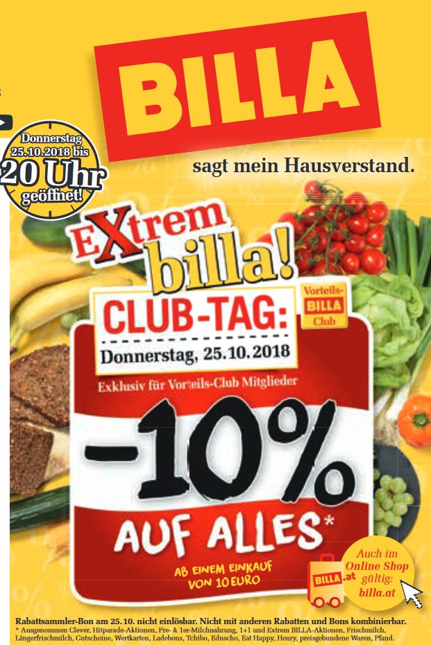 [Billa] 10% auf fast alles - nur am 25.10.2018 und nur für Club-Mitglieder