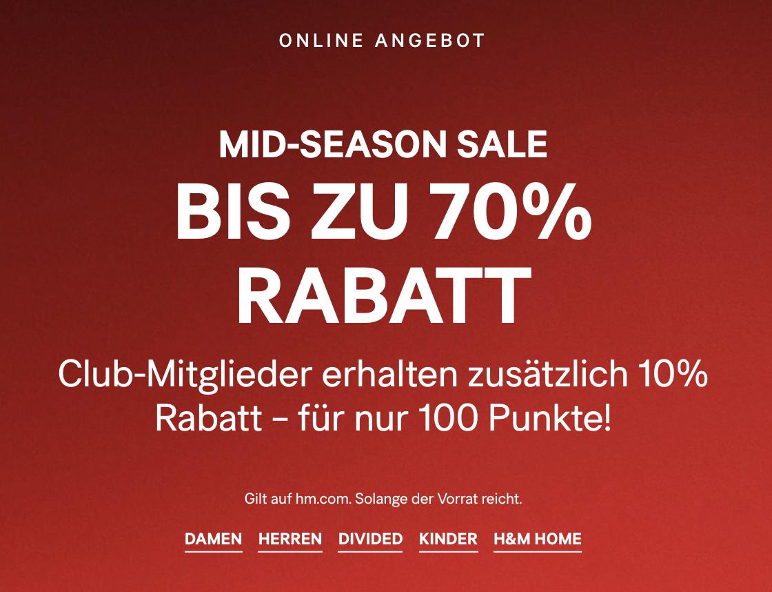 H&M: Mid-Season Sale - bis zu 70% Rabatt / Clubmitglieder Extra 10% Rabatt