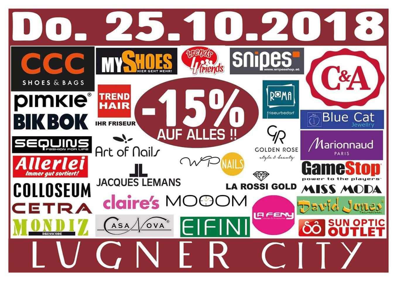 Lugner City: -15% in 31 Shops