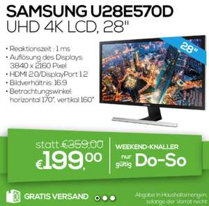 "[0815.at] Samsung U28E570D - 28"" 4K Monitor für 199 €"