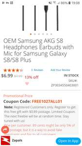 OEM Samsung AKG S8 Headphones Earbuds with Mic for Samsung Galaxy S8/S8 Plus