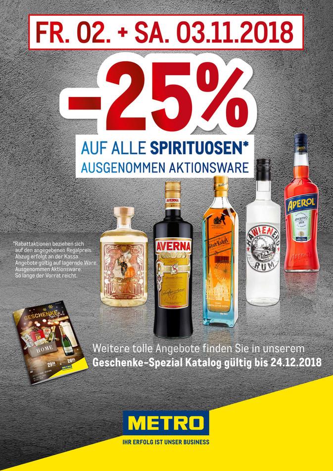 METRO: -25% auf alle Spirituosen (außer Aktionsware)