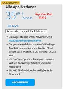40% auf die Adobe Creative Cloud
