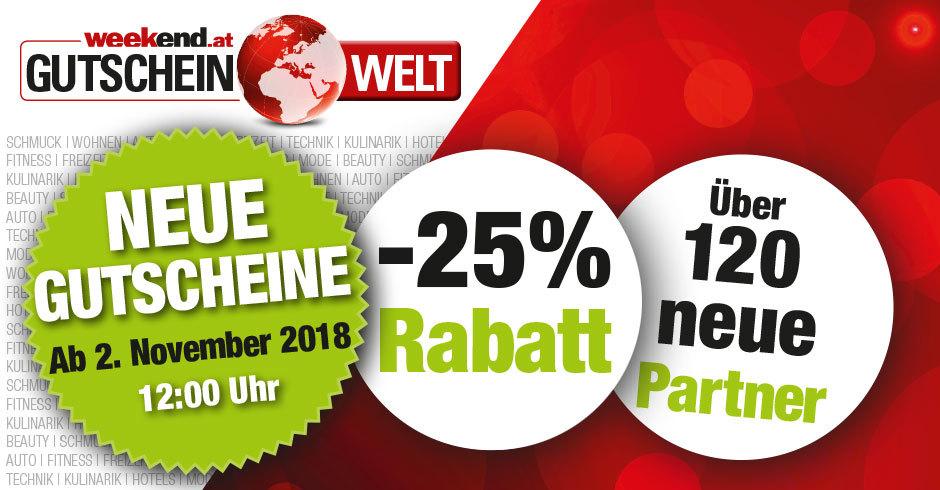 Weekend Shopping Days am 2. November - 25% Rabatt auf Gutscheine von Libro, Hartlauer, Thalia...
