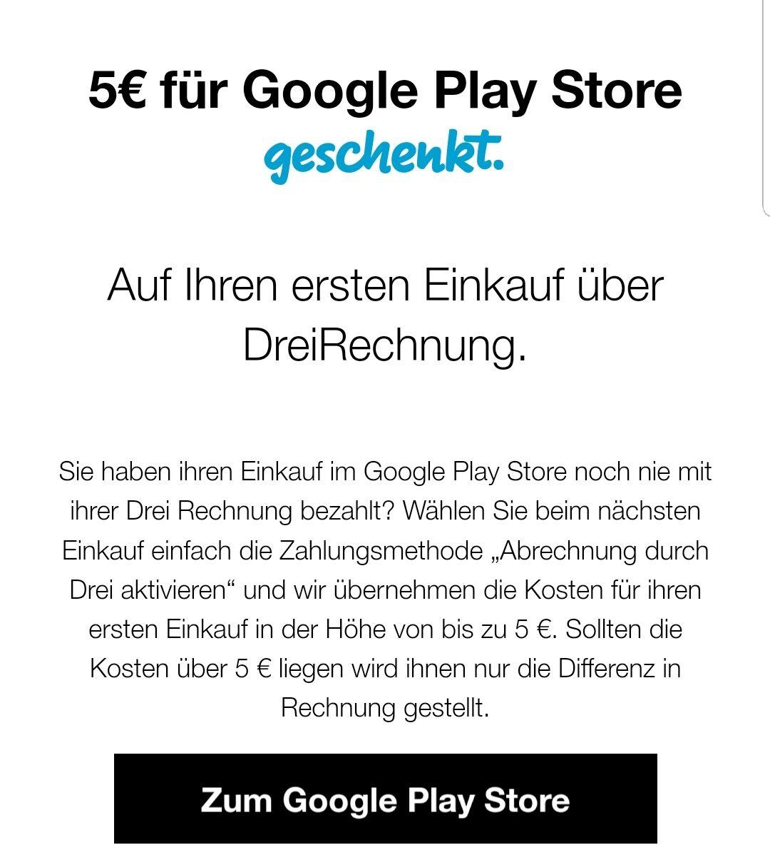 !!!nur für DREI Kunden!!! 5€ für Google Play Store geschenkt.
