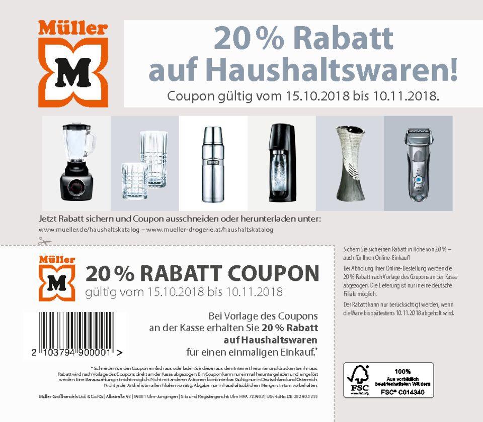 -20% auf Haushaltsartikel bei Müller
