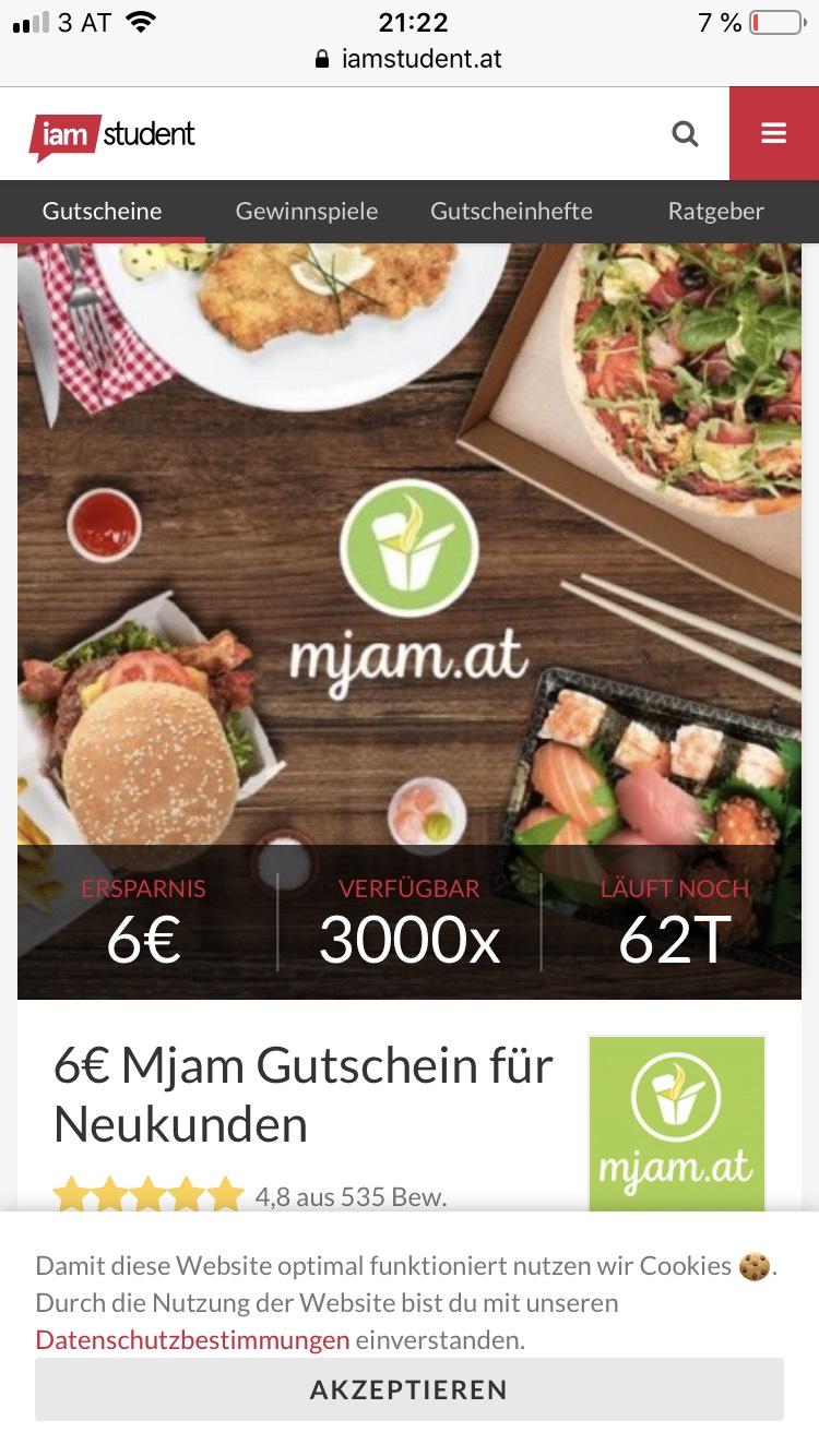 6 Euro Mjam Gutschein - nur für Neukunden