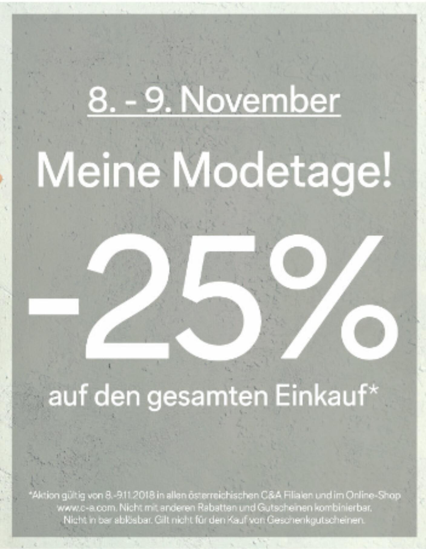 [C&A] -25% auf den gesamten Einkauf (auch Online)