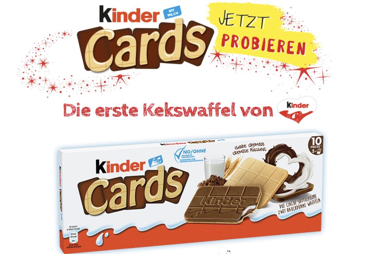 Ferrero Kinder Cards Kekswaffeln kostenlos.