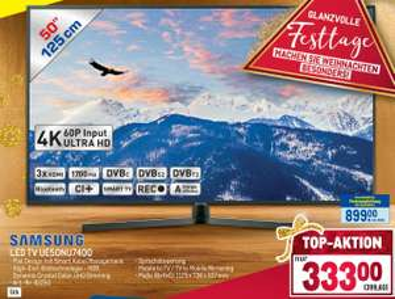 [METRO] SAMSUNG 4K LED TV UE50NU7400 um 399,60€ (BESTPREIS !!!)