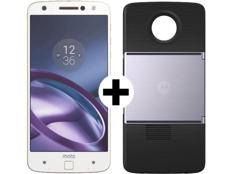 Motorola Moto Z, weiß/gold + Beamer Erweiterungsmodul Moto Insta-Share Projector (ASMPRJTBLKEU) für 234€