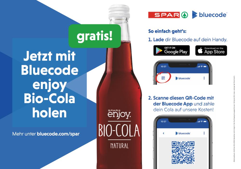 BlueCode: Spar Enjoy Bio Cola gratis