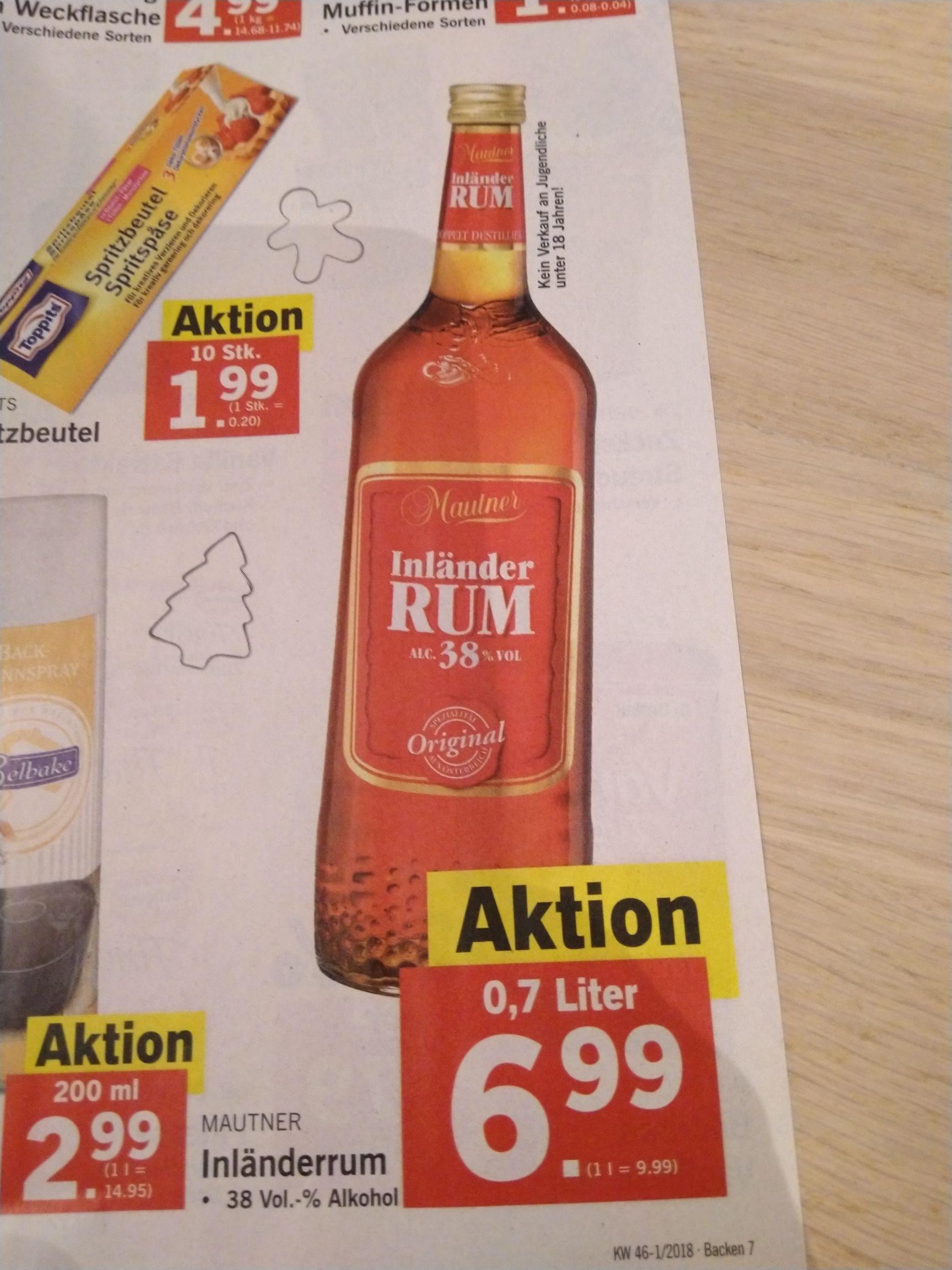 Lidl & Billa: Mautner Inländer Rum 0,7l, 38% [Weihnachtsbäckerei]