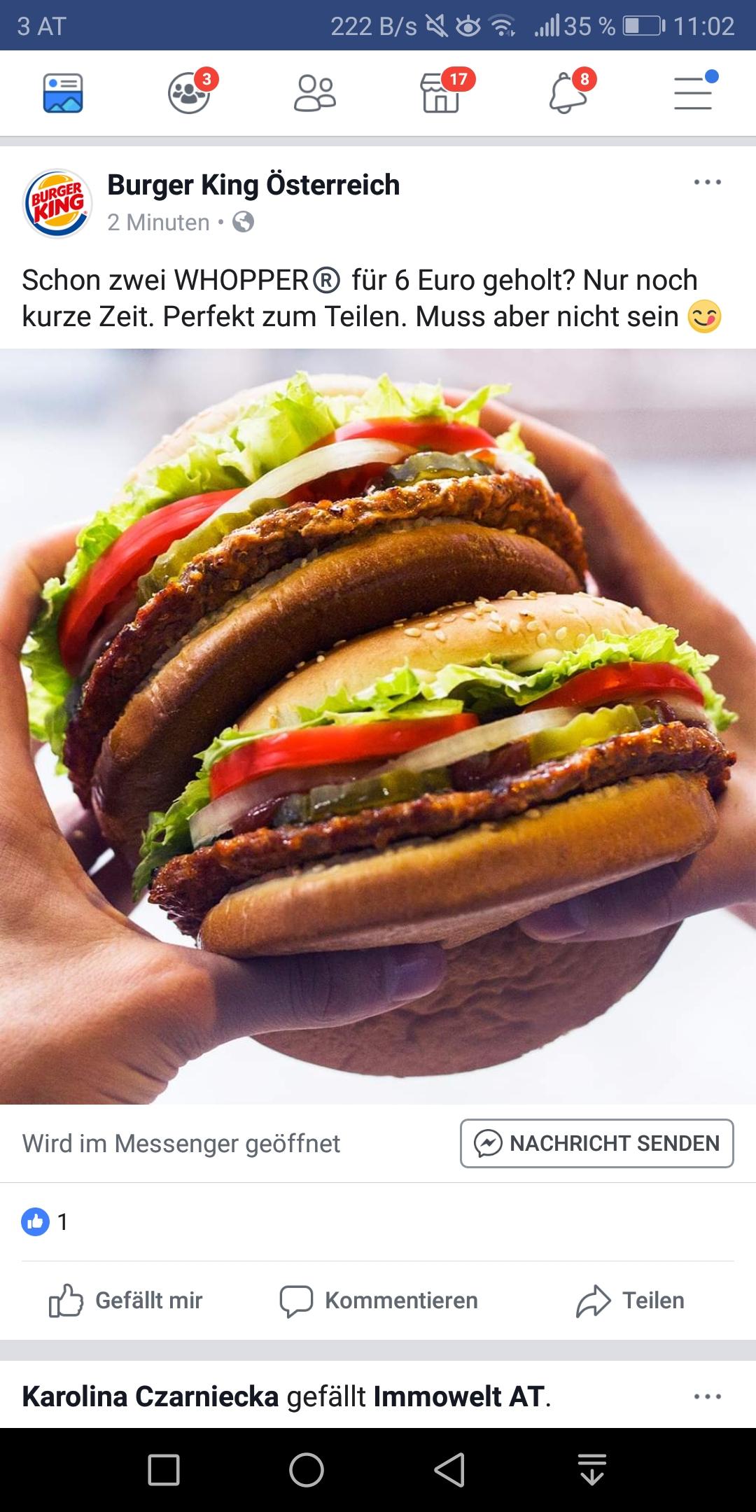 Burger King 2 Whopper für 6euro