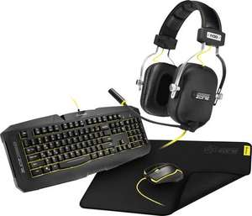 Sharkoon Gaming-Set GK15/P40/H30 USB-Tastatur, Maus-Set Beleuchtet, Ergonomisch, USB-Anschluss Schwarz für 22,50€