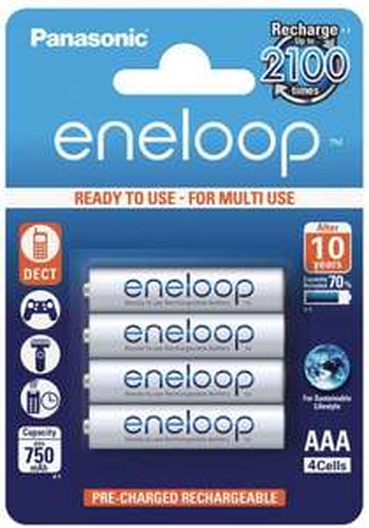 Prime Exklusiv: Panasonic eneloop, Ready-to-Use Ni-MH Akku, AAA Micro, 4er Pack für 7,25
