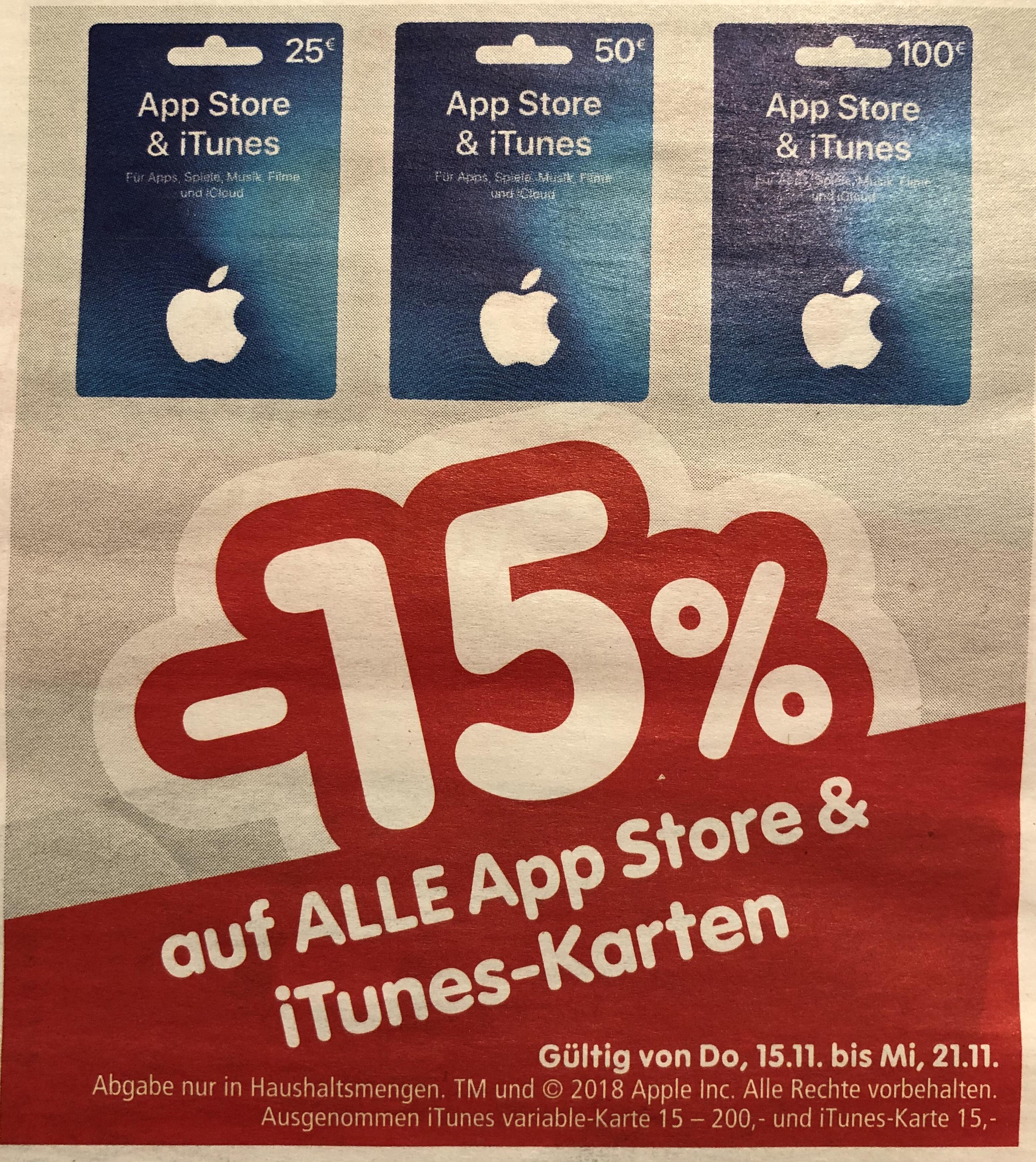 -15% auf iTunes-Karten bei Interspar