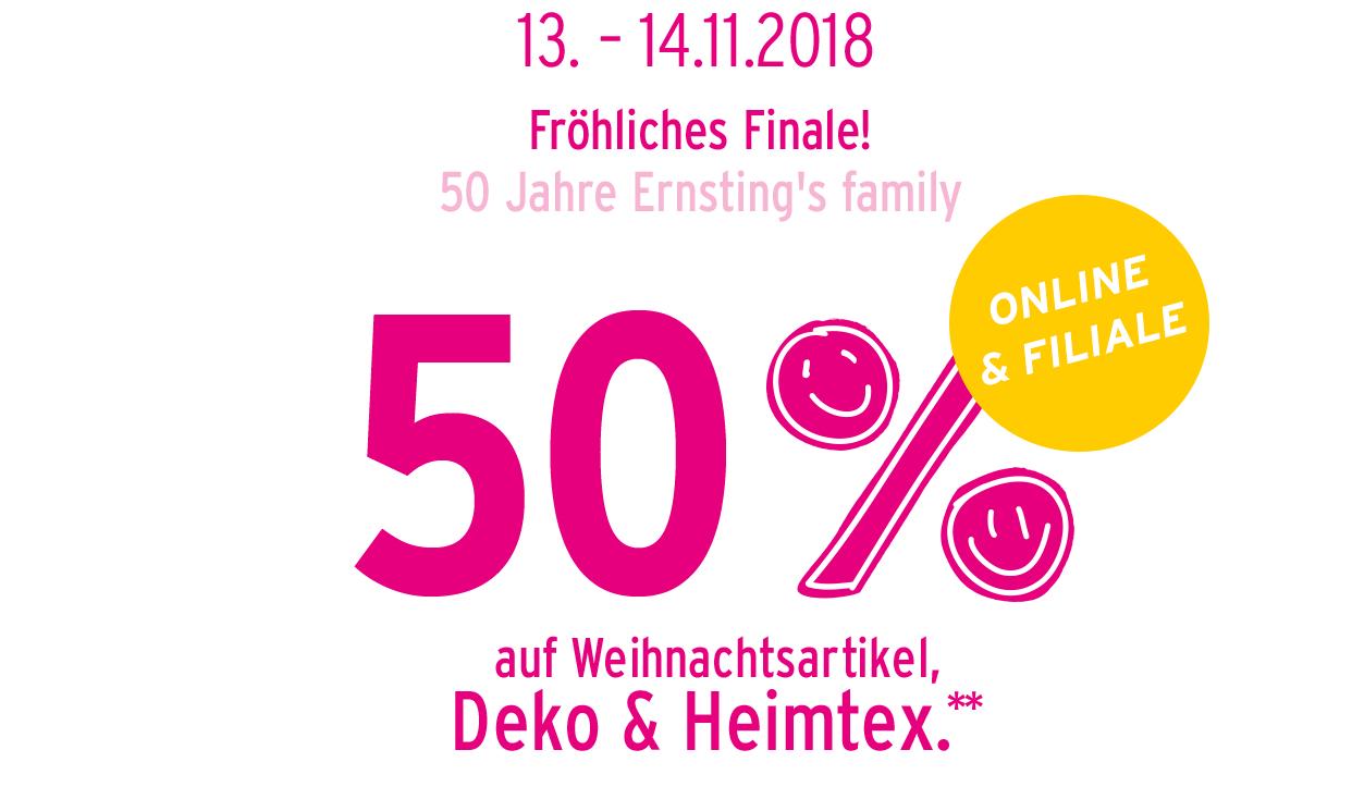 Ernsting's family: - 50% auf Deko, Heimtextilien und Weihnachtsartikel