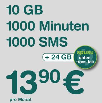 Spusu 12000 (1000 Min nach Ö + EU, 1000 SMS, 10 GB - 24 GB Mitnahme) um 13,90 €