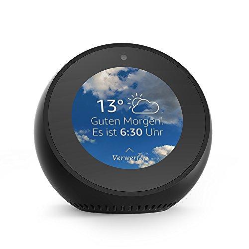 Amazon Echo Spot, Intelligenter Lautsprecher und Bildschirm mit Alexa - Schwarz/ Weiß